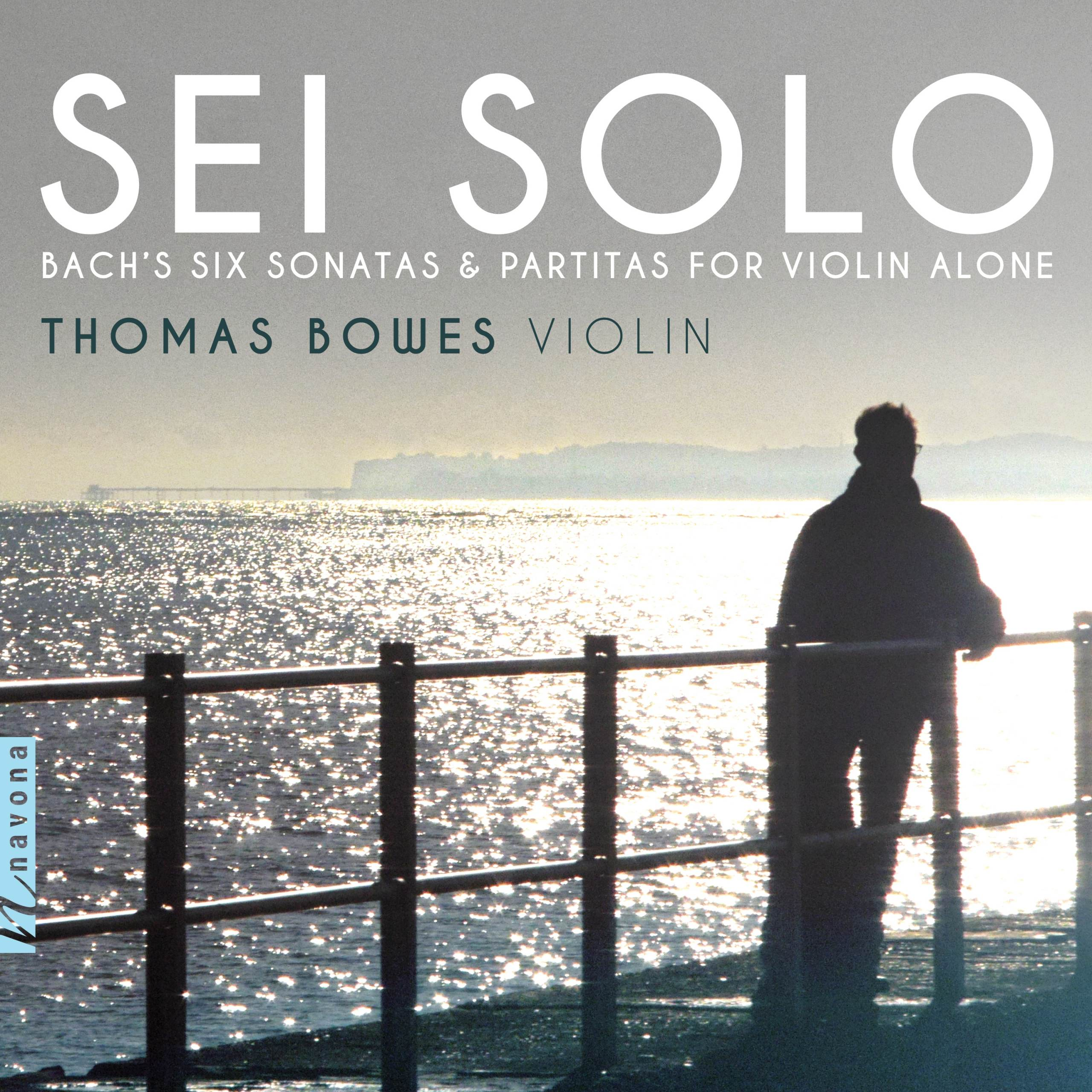 Thomas Bowes's Sei Solo Album Cover, figure against the water