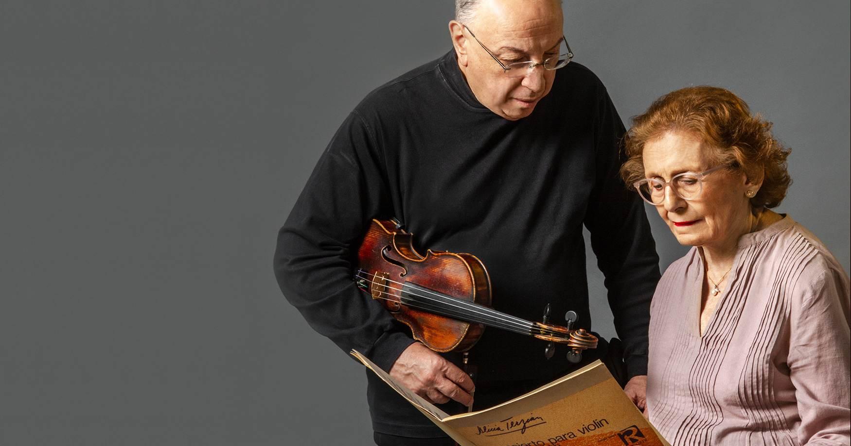Composer Alicia Terzian with violinist Rafael Gintoli