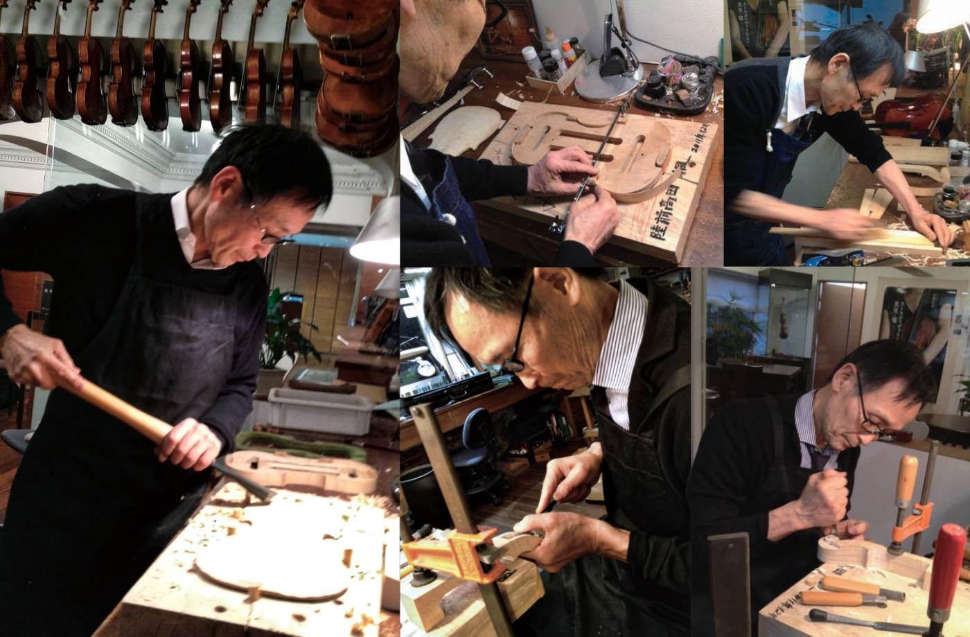 Nakazawa making violin