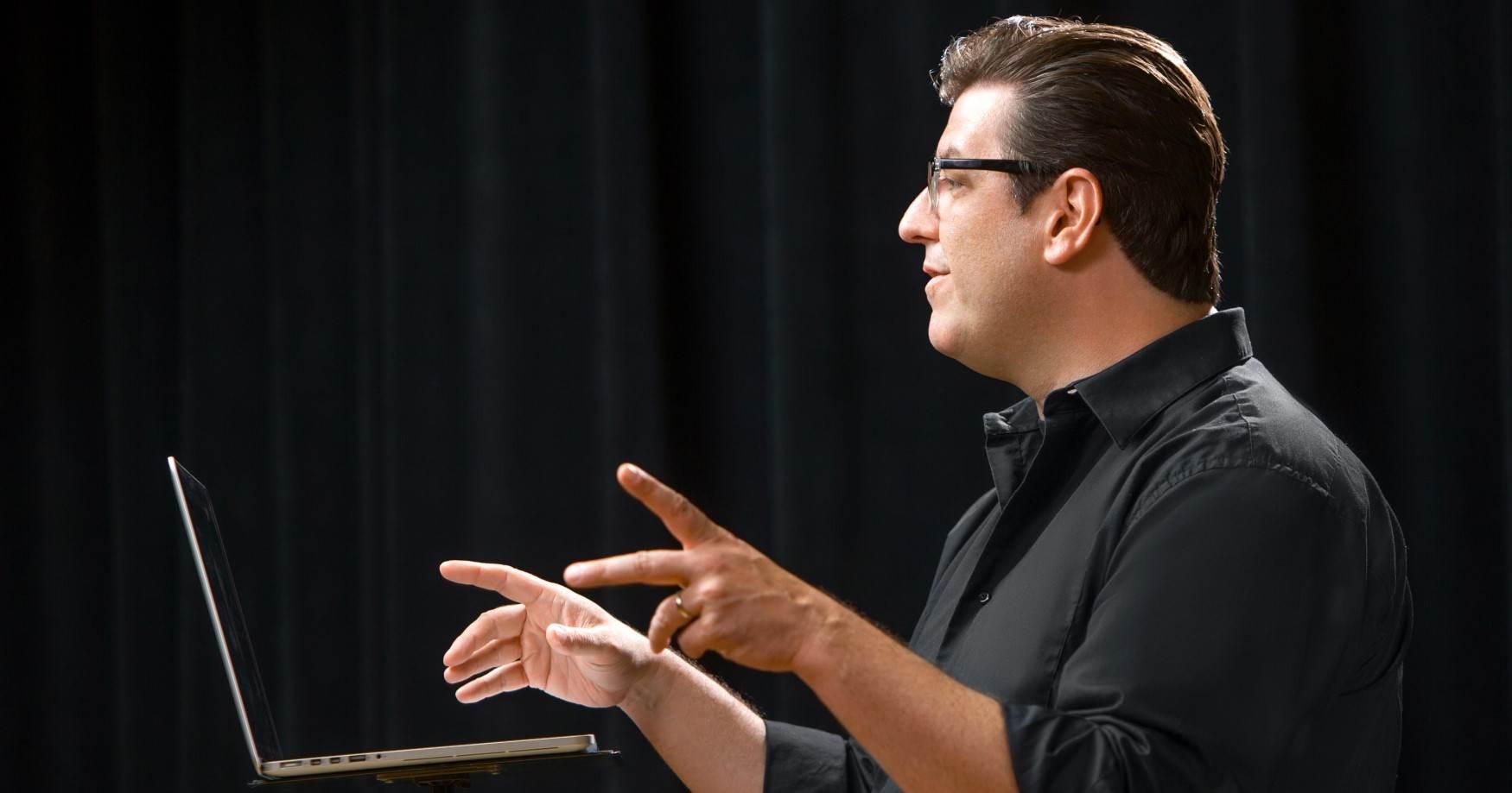 Composer Jeff Morris at the podium