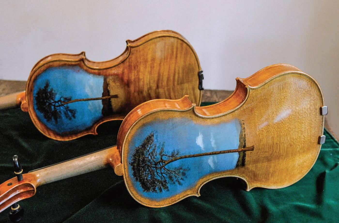 Two Tsunami Violins created by Muneyuki Nakazawa